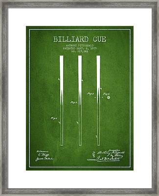 Billiard Cue Patent From 1879 - Green Framed Print