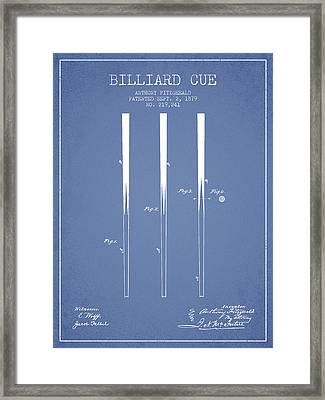 Billiard Cue Patent From 1879 - Light Blue Framed Print