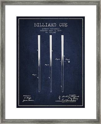 Billiard Cue Patent From 1879 - Navy Blue Framed Print