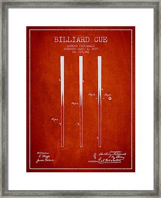 Billiard Cue Patent From 1879 - Red Framed Print