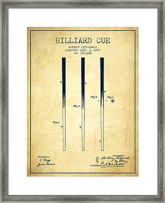 Billiard Cue Patent From 1879 - Vintage Framed Print