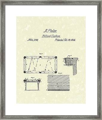 Billiard Cushion 1856 Patent Art Framed Print