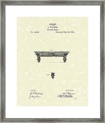 Billiard Table 1884 Patent Art Framed Print by Prior Art Design