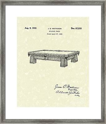 Billiard Table 1932 Patent Art Framed Print by Prior Art Design