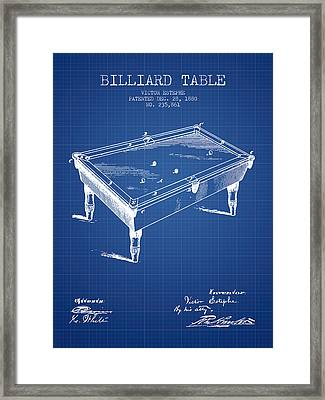 Billiard Table Patent From 1880 - Blueprint Framed Print
