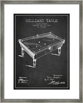Billiard Table Patent From 1880 - Charcoal Framed Print