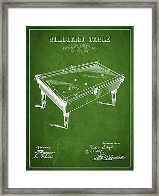 Billiard Table Patent From 1880 - Green Framed Print
