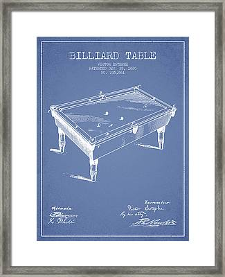 Billiard Table Patent From 1880 - Light Blue Framed Print