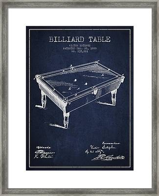 Billiard Table Patent From 1880 - Navy Blue Framed Print