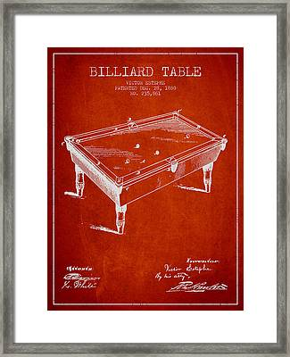 Billiard Table Patent From 1880 - Red Framed Print