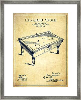 Billiard Table Patent From 1880 - Vintage Framed Print