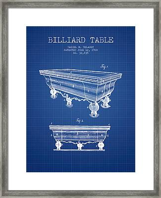 Billiard Table Patent From 1900 - Blueprint Framed Print