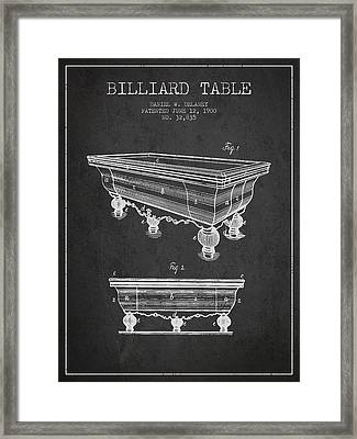 Billiard Table Patent From 1900 - Charcoal Framed Print
