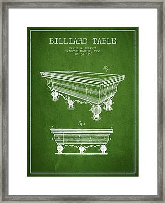 Billiard Table Patent From 1900 - Green Framed Print