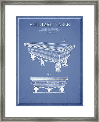 Billiard Table Patent From 1900 - Light Blue Framed Print