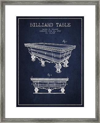 Billiard Table Patent From 1900 - Navy Blue Framed Print