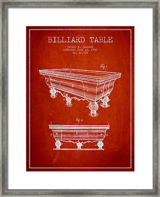 Billiard Table Patent From 1900 - Red Framed Print