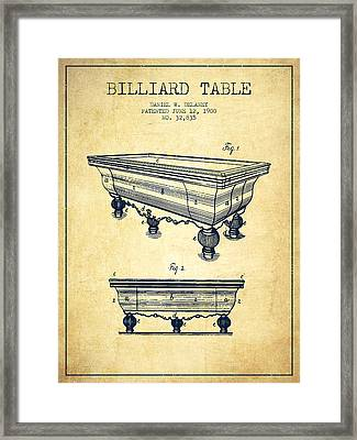 Billiard Table Patent From 1900 - Vintage Framed Print