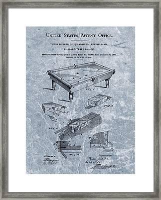 Billiards Table Patent Blue Framed Print