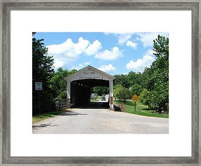 Billie Creek Covered Bridge Framed Print by BJ Karp