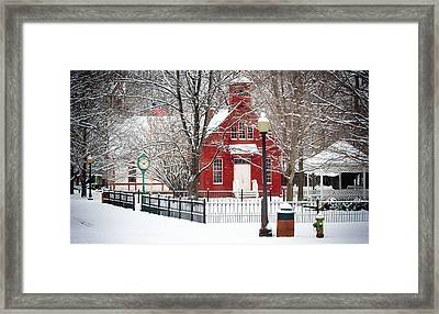Billie Creek Village Winter Scene Framed Print by Virginia Folkman