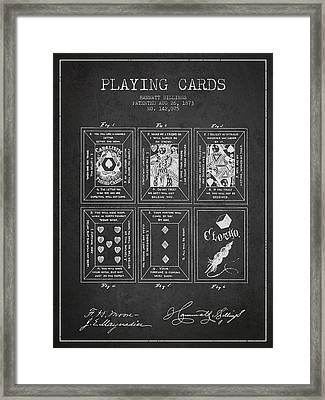 Billings Playing Cards Patent Drawing From 1873 - Dark Framed Print by Aged Pixel