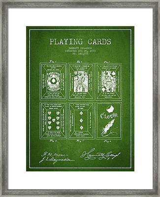Billings Playing Cards Patent Drawing From 1873 - Green Framed Print by Aged Pixel
