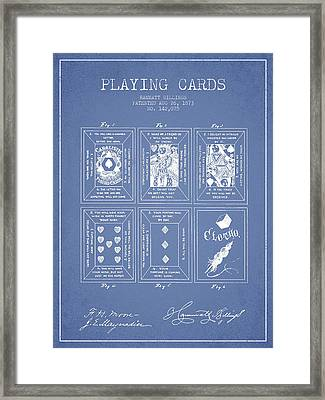 Billings Playing Cards Patent Drawing From 1873 - Light Blue Framed Print by Aged Pixel