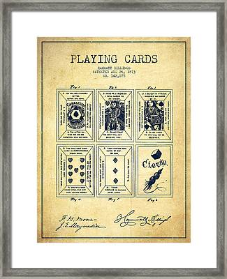 Billings Playing Cards Patent Drawing From 1873 - Vintage Framed Print by Aged Pixel