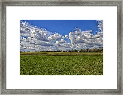 Billow Skies On Green Framed Print by Bill Tiepelman