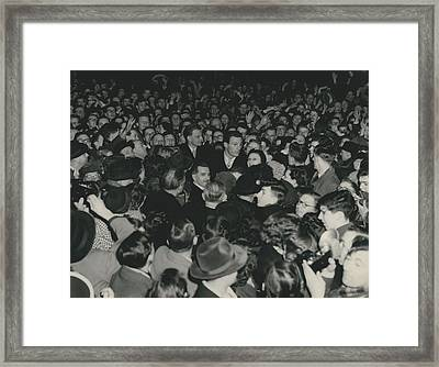 Billy Graham Arrives At Waterloo. Large Crowds Wait His Framed Print by Retro Images Archive