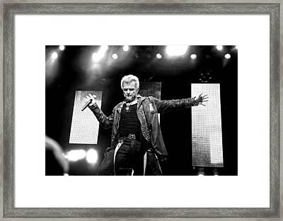 Billy Idol Black And White Live In Concert 4 Framed Print by Jennifer Rondinelli Reilly - Fine Art Photography