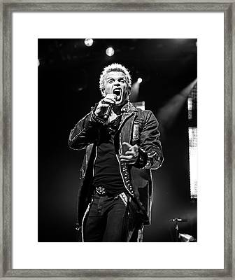 Billy Idol Black And White Live In Concert 5 Framed Print