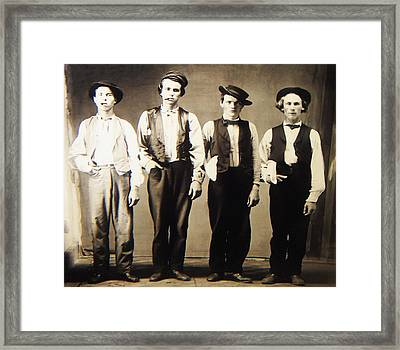 Billy The Kid Doc Holliday Jesse James And Charlie Bowdre Framed Print by Bill Cannon