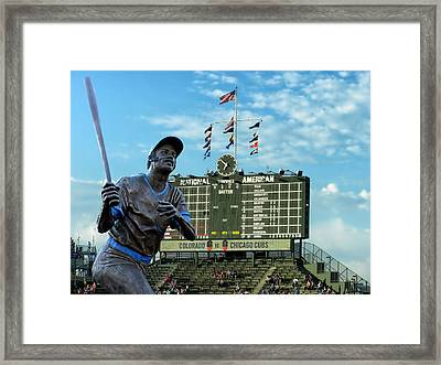 Billy Williams Chicago Cub Statue Framed Print by Thomas Woolworth