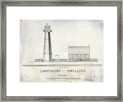 Biloxi Lighthouse Drawing Framed Print by Jon Neidert