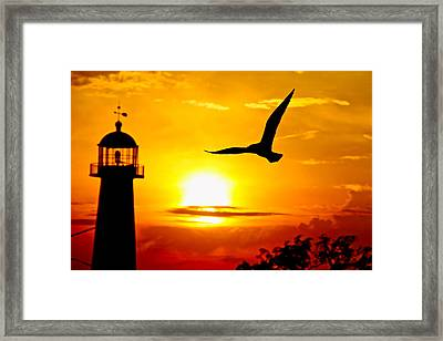 Biloxi Lighthouse Sunset Framed Print