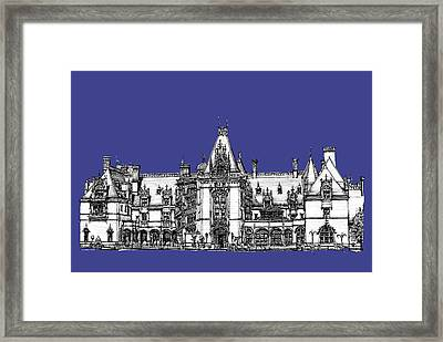 Biltmore Estate In Royal Blue Framed Print by Building  Art