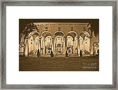 Biltmore Hotel Arched Colonnade And Grand Ballroom Courtyard Coral Gables Miami Rustic Digital Art Framed Print by Shawn O'Brien