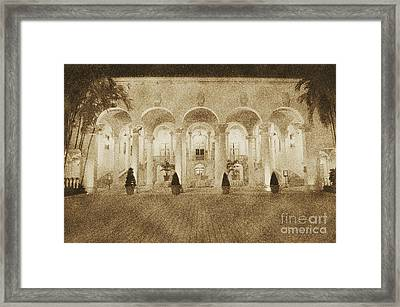 Biltmore Hotel Arched Colonnade And Grand Ballroom Courtyard Coral Gables Miami Vintage Digital Art Framed Print by Shawn O'Brien