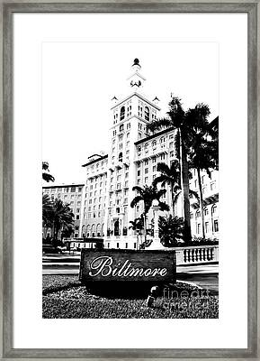 Biltmore Hotel Facade And Sign Coral Gables Miami Florida Bw Conte Crayon Digital Art Framed Print by Shawn O'Brien