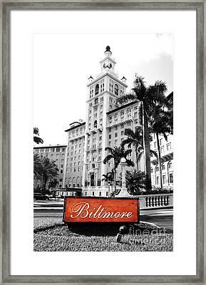 Biltmore Hotel Facade And Sign Coral Gables Miami Florida Color Splash Digital Art Framed Print by Shawn O'Brien