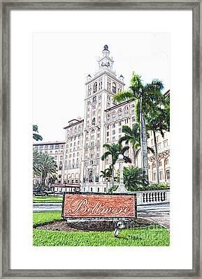 Biltmore Hotel Facade And Sign Coral Gables Miami Florida Colored Pencil Digital Art Framed Print by Shawn O'Brien