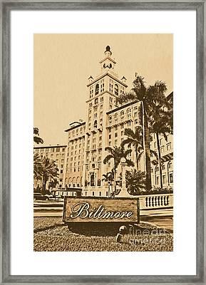 Biltmore Hotel Facade And Sign Coral Gables Miami Florida Rustic Digital Art Framed Print by Shawn O'Brien