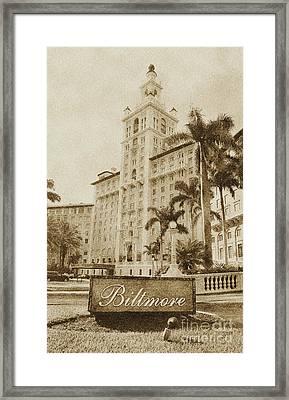 Biltmore Hotel Facade And Sign Coral Gables Miami Florida Vintage Digital Art Framed Print by Shawn O'Brien