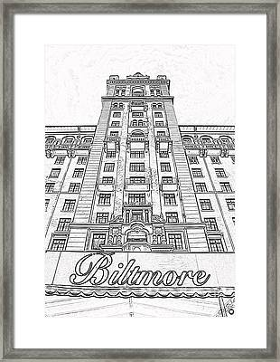 Biltmore Hotel Miami Coral Gables Florida Exterior Awning And Tower Black And White Digital Art Framed Print