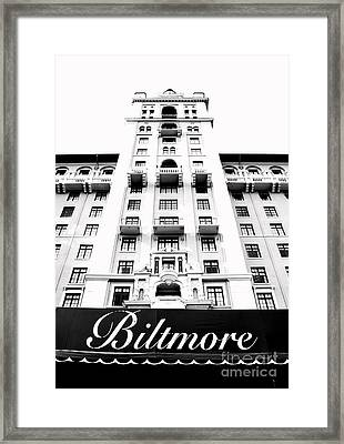Biltmore Hotel Miami Coral Gables Florida Exterior Awning And Tower Bw Conte Crayon Digital Art Framed Print by Shawn O'Brien