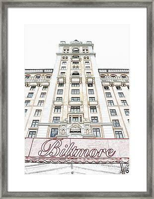Biltmore Hotel Miami Coral Gables Florida Exterior Awning And Tower Colored Pencil Digital Art Framed Print by Shawn O'Brien