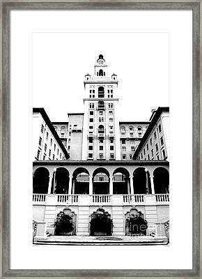 Biltmore Hotel Miami Coral Gables Florida Exterior Colonnade And Tower Bw Conte Crayon Digital Art Framed Print by Shawn O'Brien