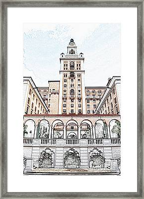 Biltmore Hotel Miami Coral Gables Florida Exterior Colonnade And Tower Colored Pencil Digital Art Framed Print by Shawn O'Brien